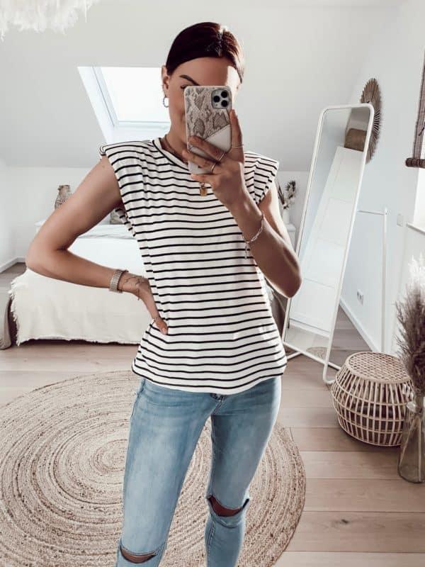 Sommerliches ärmelloses Shirt mit Schulterpolster Vazzola Fashion Onlineshop