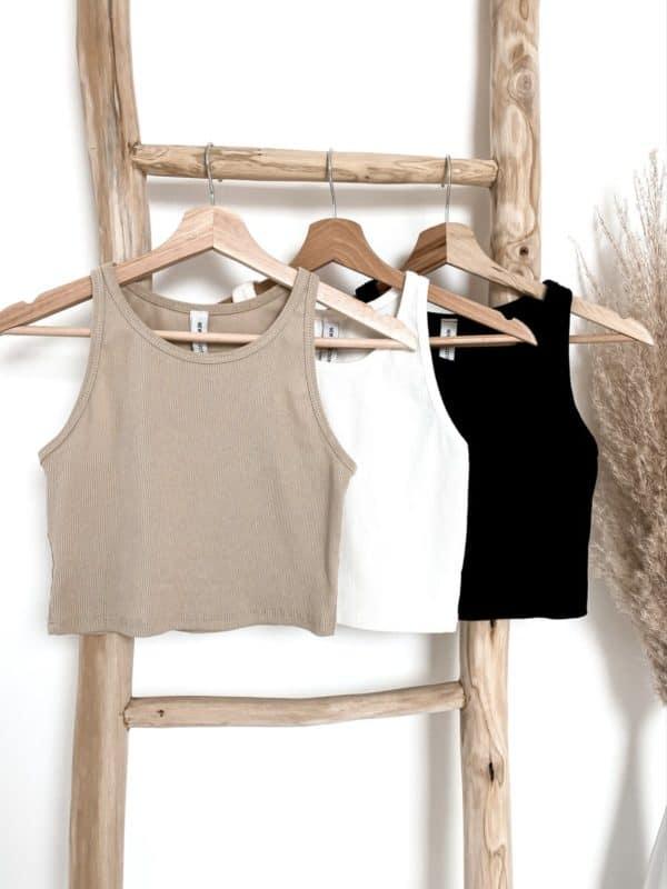 Crop Top Weiß camel beige schwarz Vazzola Fashion Shop 4