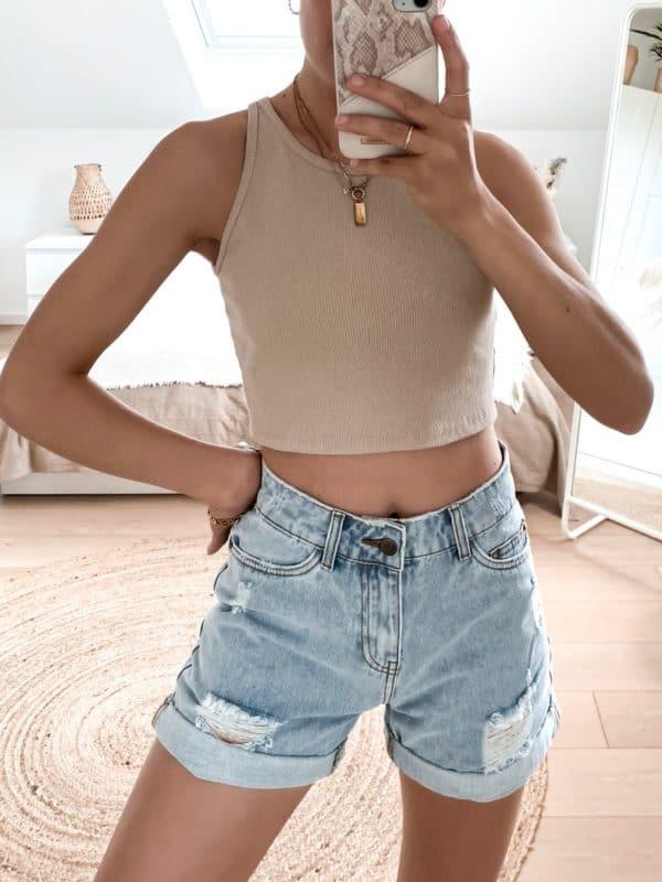 Jeans Short Highwaist Blue Vazzola Fashion Shop 3