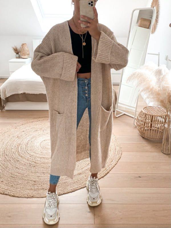 Long Cardigan Oversize für Damen - Vazzola Fashion Onlineshop